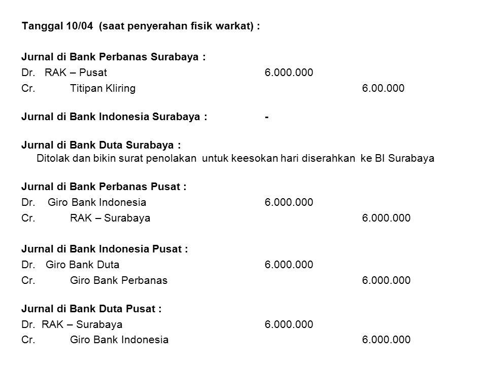 Tanggal 10/04 (saat penyerahan fisik warkat) : Jurnal di Bank Perbanas Surabaya : Dr. RAK – Pusat6.000.000 Cr.Titipan Kliring6.00.000 Jurnal di Bank I