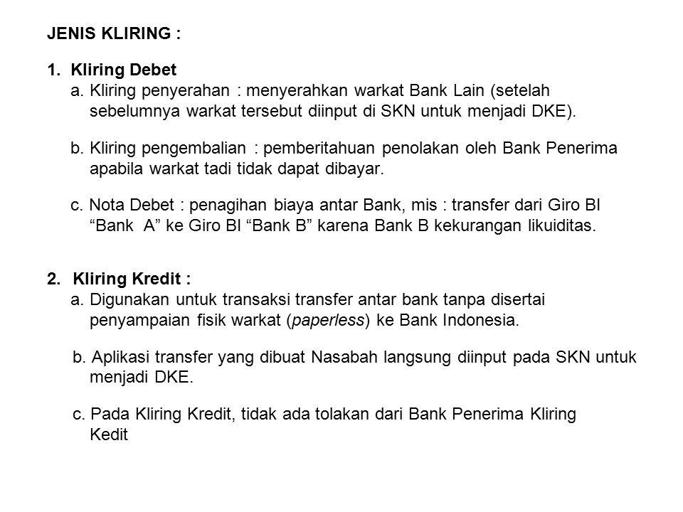 JENIS KLIRING : 1. Kliring Debet a. Kliring penyerahan : menyerahkan warkat Bank Lain (setelah sebelumnya warkat tersebut diinput di SKN untuk menjadi