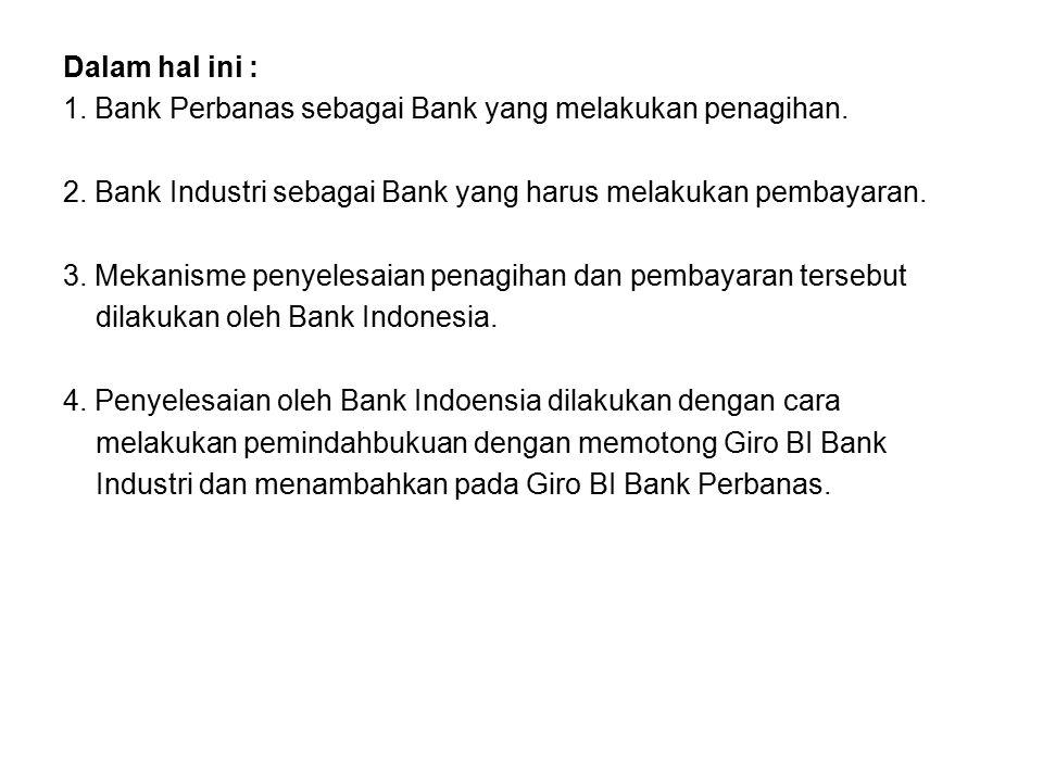 Dalam hal ini : 1. Bank Perbanas sebagai Bank yang melakukan penagihan. 2. Bank Industri sebagai Bank yang harus melakukan pembayaran. 3. Mekanisme pe