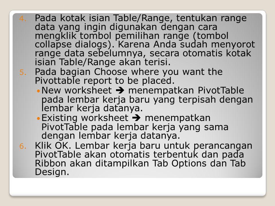 4. Pada kotak isian Table/Range, tentukan range data yang ingin digunakan dengan cara mengklik tombol pemilihan range (tombol collapse dialogs). Karen