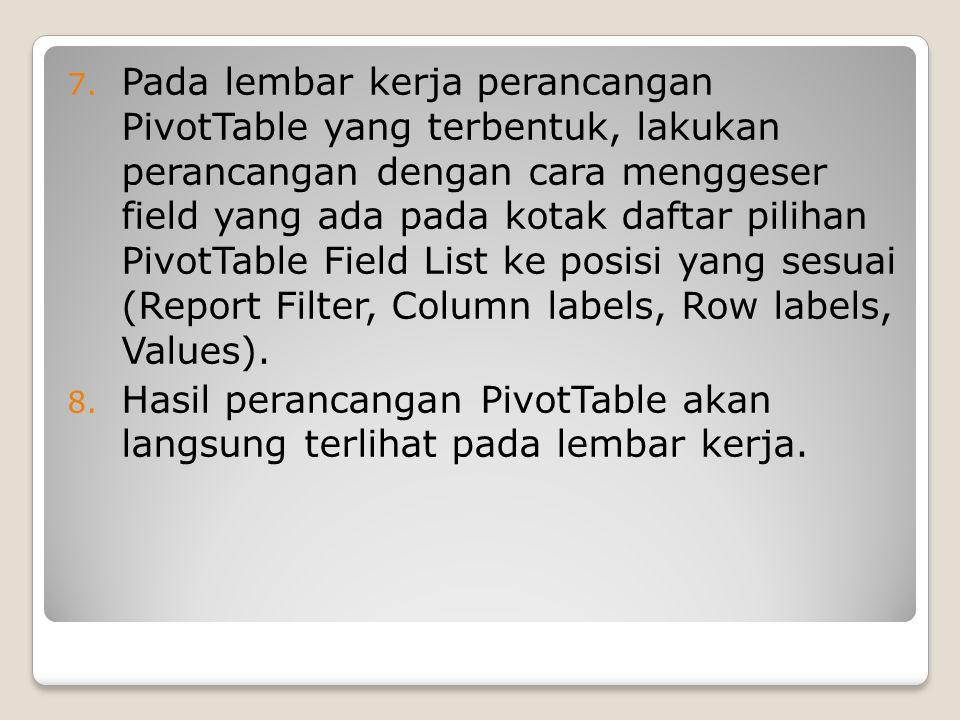 7. Pada lembar kerja perancangan PivotTable yang terbentuk, lakukan perancangan dengan cara menggeser field yang ada pada kotak daftar pilihan PivotTa