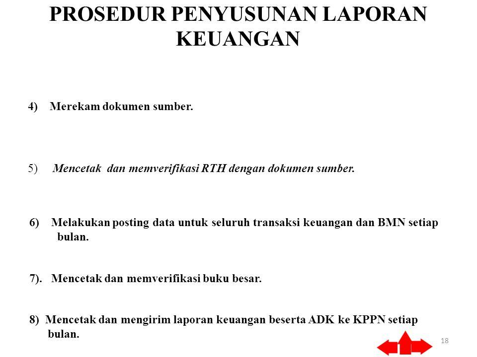 PROSEDUR PENYUSUNAN LAPORAN KEUANGAN 18 4) Merekam dokumen sumber.