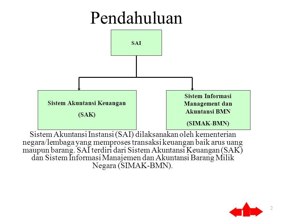 Pendahuluan Sistem Akuntansi Instansi (SAI) dilaksanakan oleh kementerian negara/lembaga yang memproses transaksi keuangan baik arus uang maupun barang.