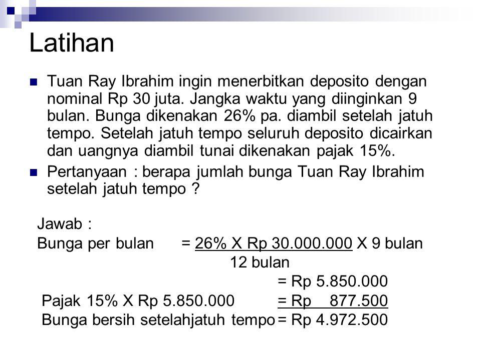 Latihan Tuan Ray Ibrahim ingin menerbitkan deposito dengan nominal Rp 30 juta.