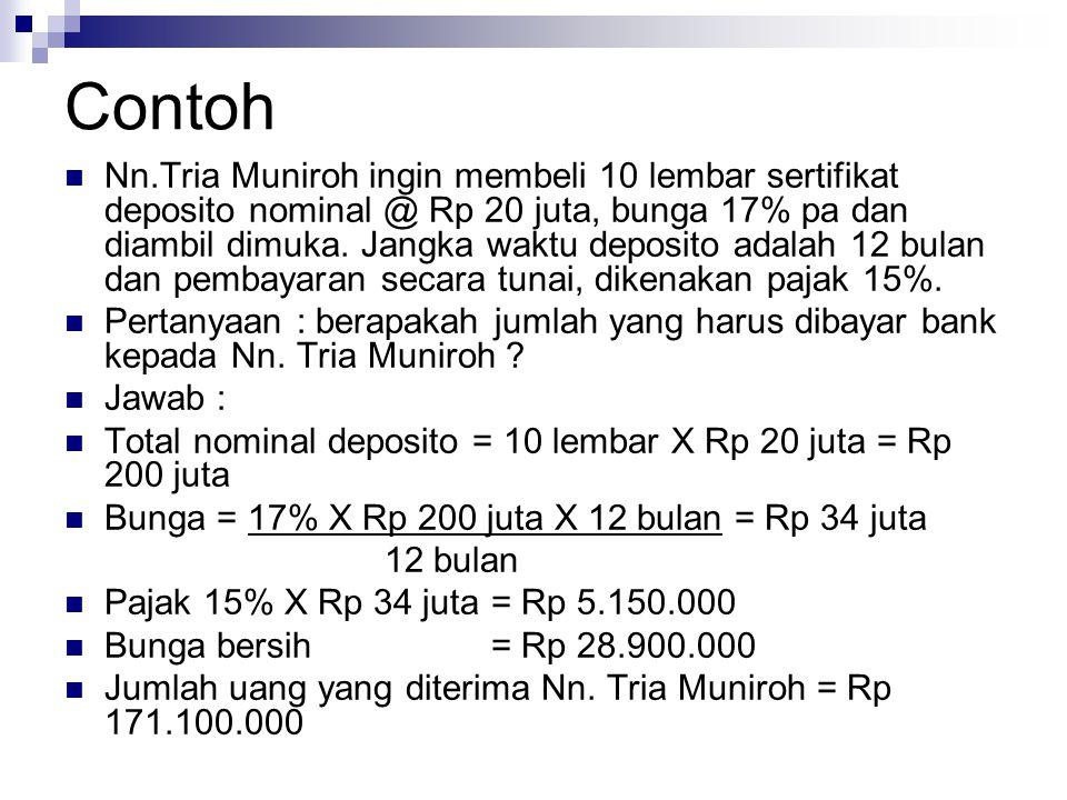 Contoh Nn.Tria Muniroh ingin membeli 10 lembar sertifikat deposito nominal @ Rp 20 juta, bunga 17% pa dan diambil dimuka.