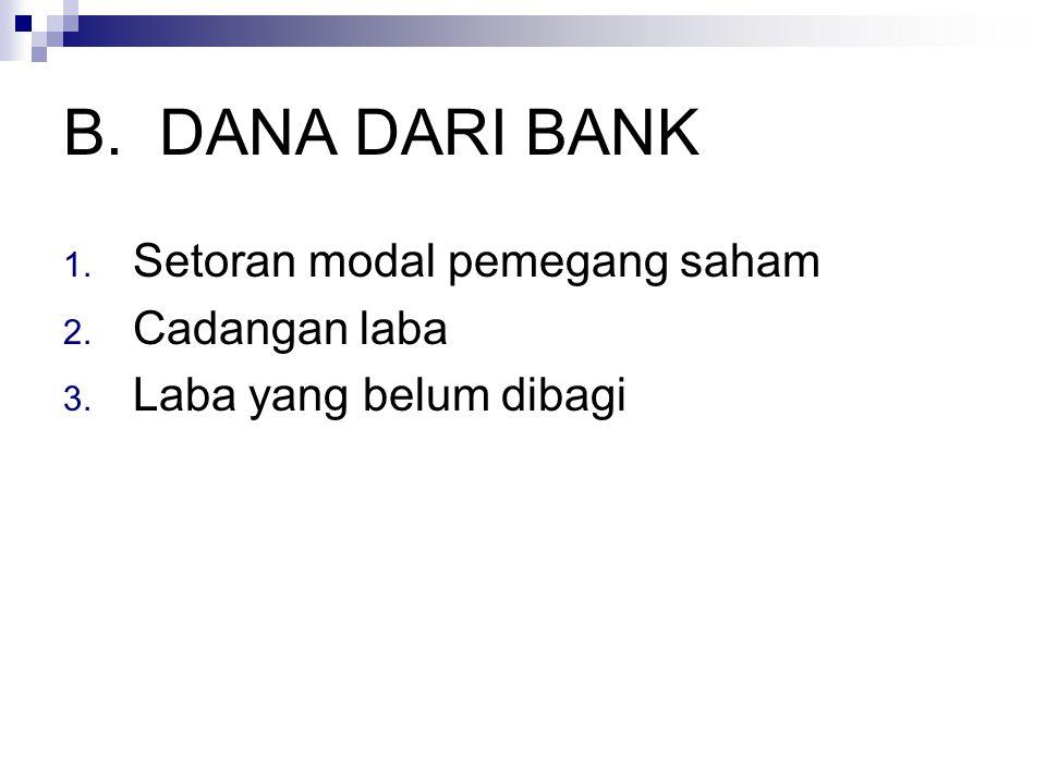 B.DANA DARI BANK 1. Setoran modal pemegang saham 2. Cadangan laba 3. Laba yang belum dibagi