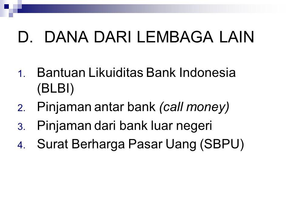 D.DANA DARI LEMBAGA LAIN 1.Bantuan Likuiditas Bank Indonesia (BLBI) 2.