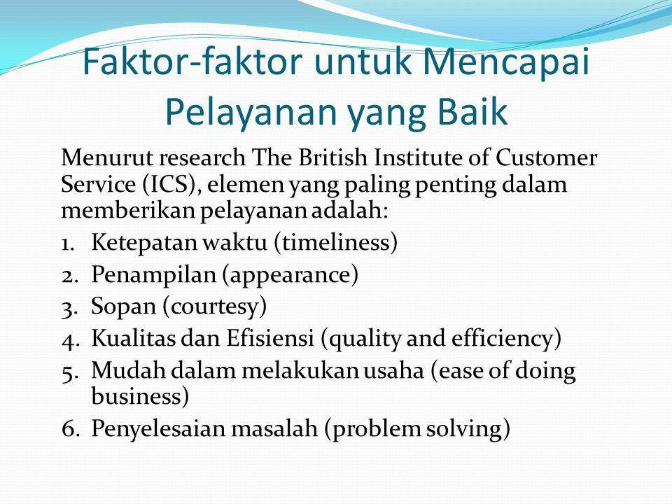 Faktor-faktor untuk Mencapai Pelayanan yang Baik Menurut research The British Institute of Customer Service (ICS), elemen yang paling penting dalam me