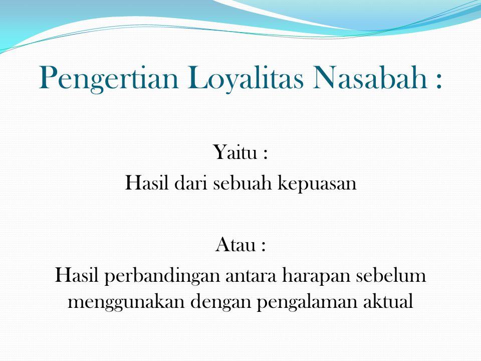 Pengertian Loyalitas Nasabah : Yaitu : Hasil dari sebuah kepuasan Atau : Hasil perbandingan antara harapan sebelum menggunakan dengan pengalaman aktua