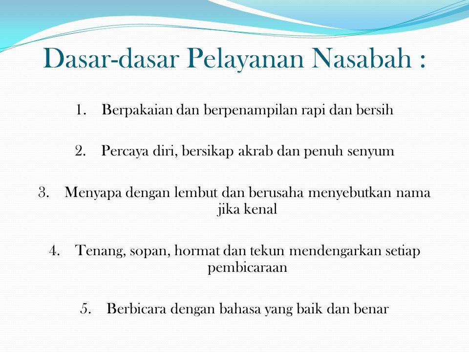 Dasar-dasar Pelayanan Nasabah : 6.Bersemangat/bergairah dalam melayani nasabah 7.