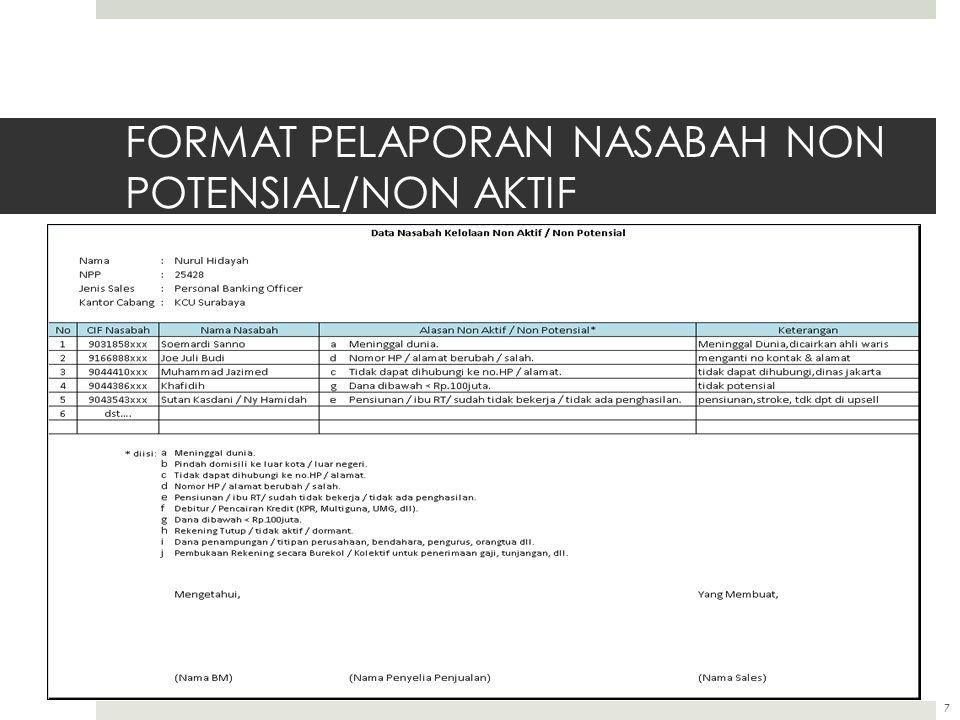 7 FORMAT PELAPORAN NASABAH NON POTENSIAL/NON AKTIF