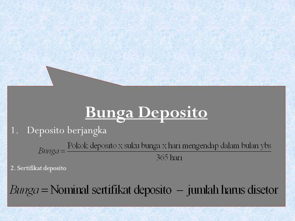 Bunga Deposito 1.Deposito berjangka 2. Sertifikat deposito