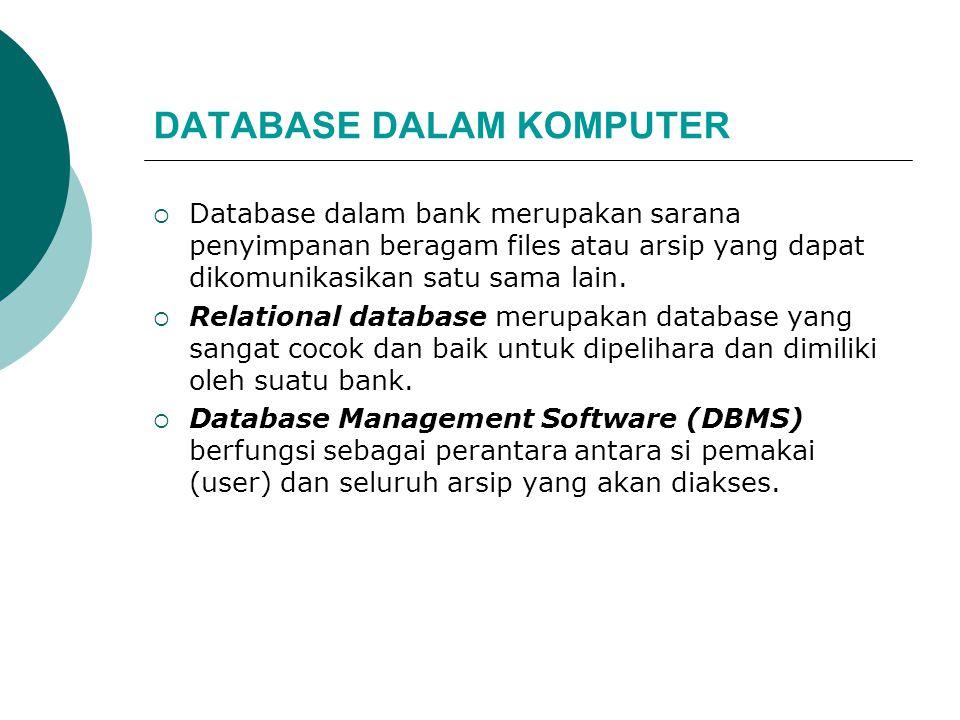 DATABASE DALAM KOMPUTER  Database dalam bank merupakan sarana penyimpanan beragam files atau arsip yang dapat dikomunikasikan satu sama lain.  Relat