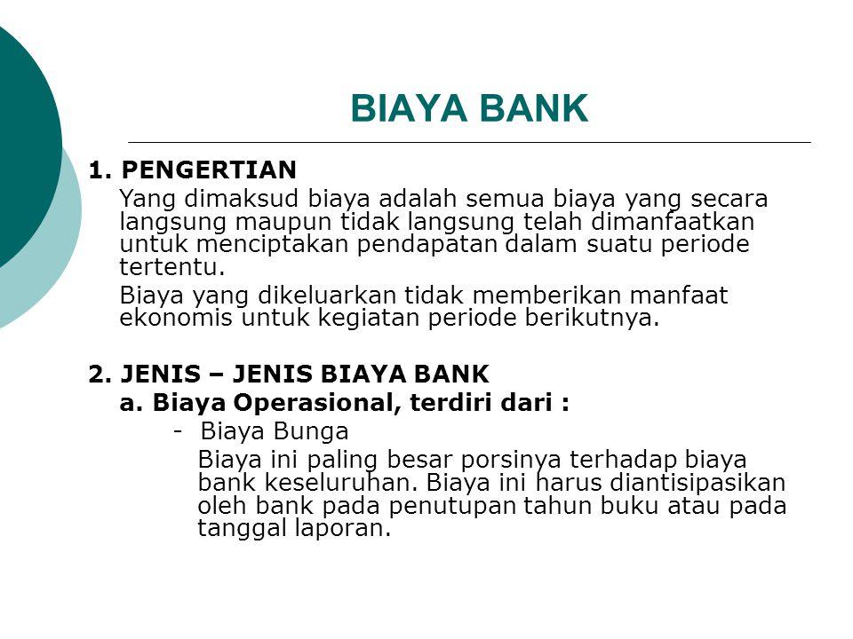 BIAYA BANK 1. PENGERTIAN Yang dimaksud biaya adalah semua biaya yang secara langsung maupun tidak langsung telah dimanfaatkan untuk menciptakan pendap