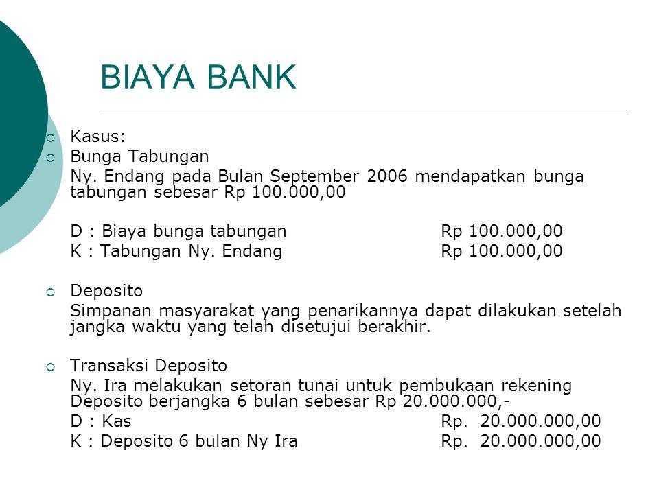 BIAYA BANK  Kasus:  Bunga Tabungan Ny. Endang pada Bulan September 2006 mendapatkan bunga tabungan sebesar Rp 100.000,00 D : Biaya bunga tabunganRp