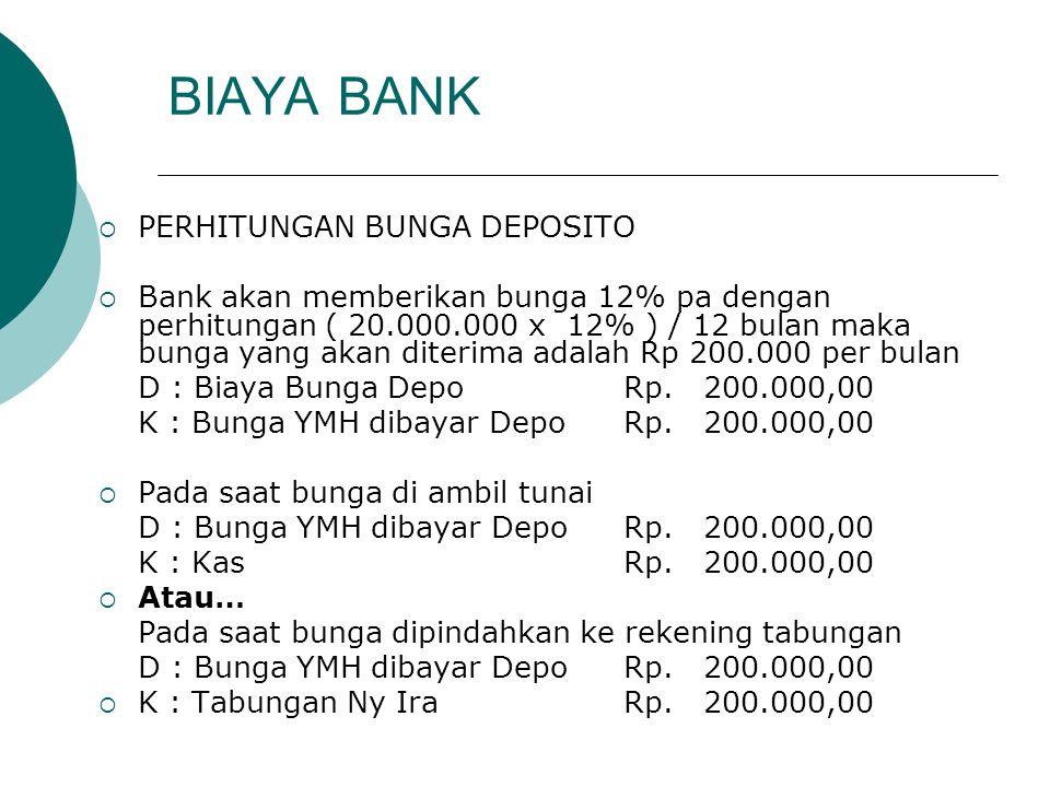 BIAYA BANK  PERHITUNGAN BUNGA DEPOSITO  Bank akan memberikan bunga 12% pa dengan perhitungan ( 20.000.000 x 12% ) / 12 bulan maka bunga yang akan di