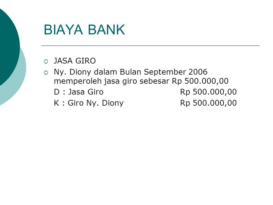 BIAYA BANK  JASA GIRO  Ny. Diony dalam Bulan September 2006 memperoleh jasa giro sebesar Rp 500.000,00 D : Jasa GiroRp 500.000,00 K : Giro Ny. Diony
