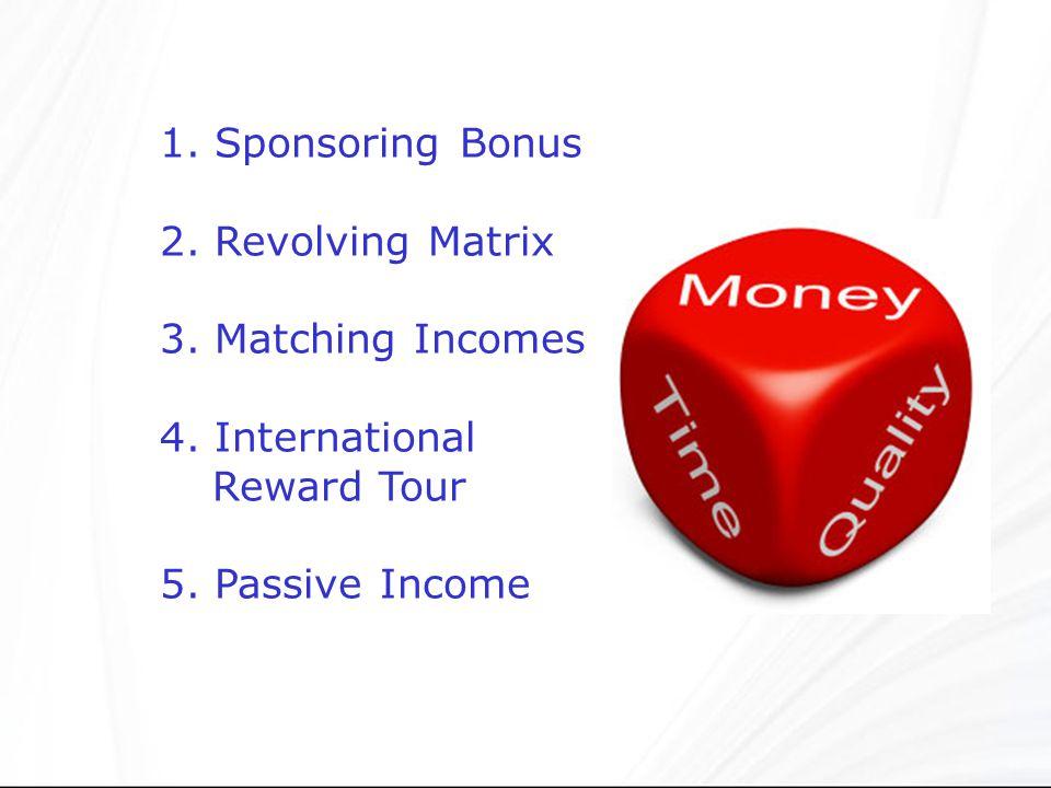 1.Sponsoring Bonus 2. Revolving Matrix 3. Matching Incomes 4.