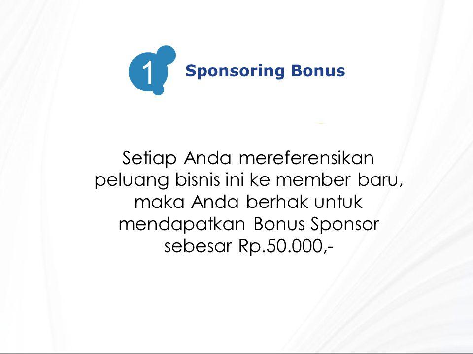 Sponsoring Bonus 1 Setiap Anda mereferensikan peluang bisnis ini ke member baru, maka Anda berhak untuk mendapatkan Bonus Sponsor sebesar Rp.50.000,-