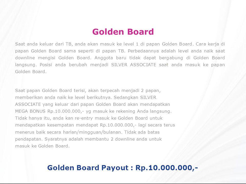 Saat anda keluar dari TB, anda akan masuk ke level 1 di papan Golden Board.