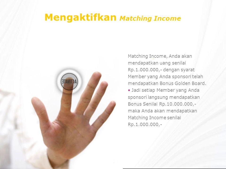 Mengaktifkan Matching Income Matching Income, Anda akan mendapatkan uang senilai Rp.1.000.000,- dengan syarat Member yang Anda sponsori telah mendapatkan Bonus Golden Board.