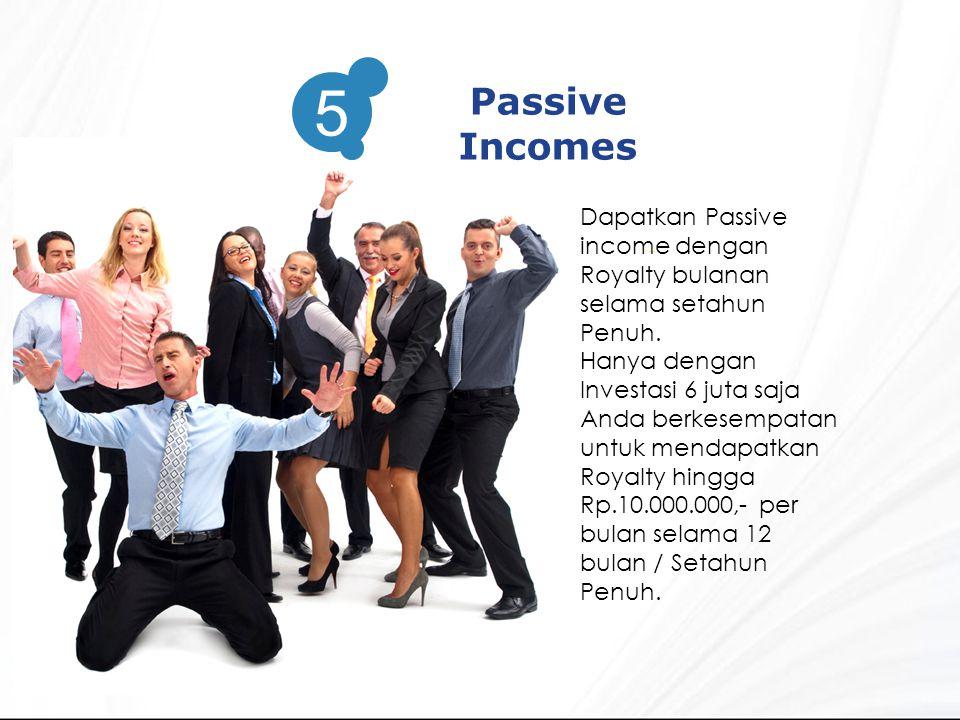 3 Passive Incomes 5 Dapatkan Passive income dengan Royalty bulanan selama setahun Penuh.