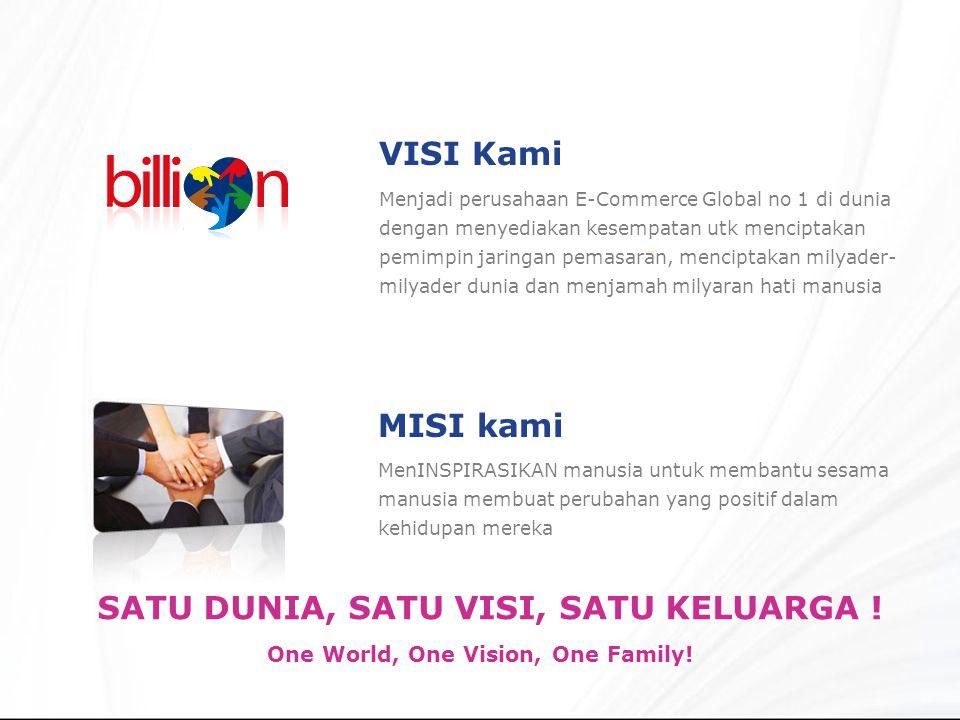 MenINSPIRASIKAN manusia untuk membantu sesama manusia membuat perubahan yang positif dalam kehidupan mereka VISI Kami One World, One Vision, One Family.