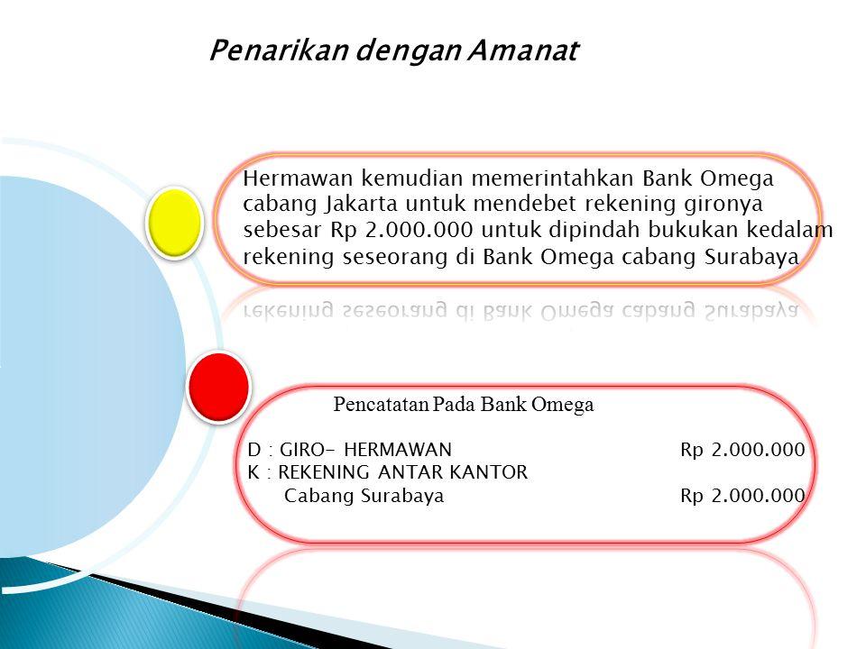 Penarikan dengan Amanat Pencatatan Pada Bank Omega D : GIRO- HERMAWANRp 2.000.000 K : REKENING ANTAR KANTOR Cabang SurabayaRp 2.000.000