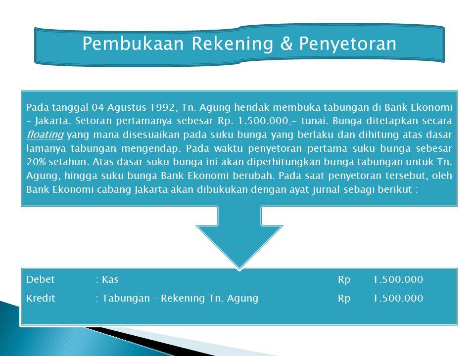 Debet: KasRp 1.500.000 Kredit: Tabungan – Rekening Tn.