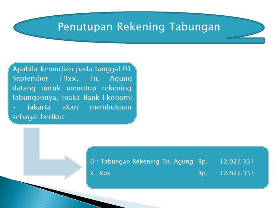 Penutupan Rekening Tabungan Apabila kemudian pada tanggal 01 September 19xx, Tn.