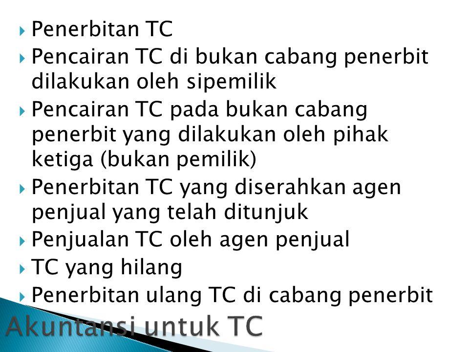  Penerbitan TC  Pencairan TC di bukan cabang penerbit dilakukan oleh sipemilik  Pencairan TC pada bukan cabang penerbit yang dilakukan oleh pihak ketiga (bukan pemilik)  Penerbitan TC yang diserahkan agen penjual yang telah ditunjuk  Penjualan TC oleh agen penjual  TC yang hilang  Penerbitan ulang TC di cabang penerbit