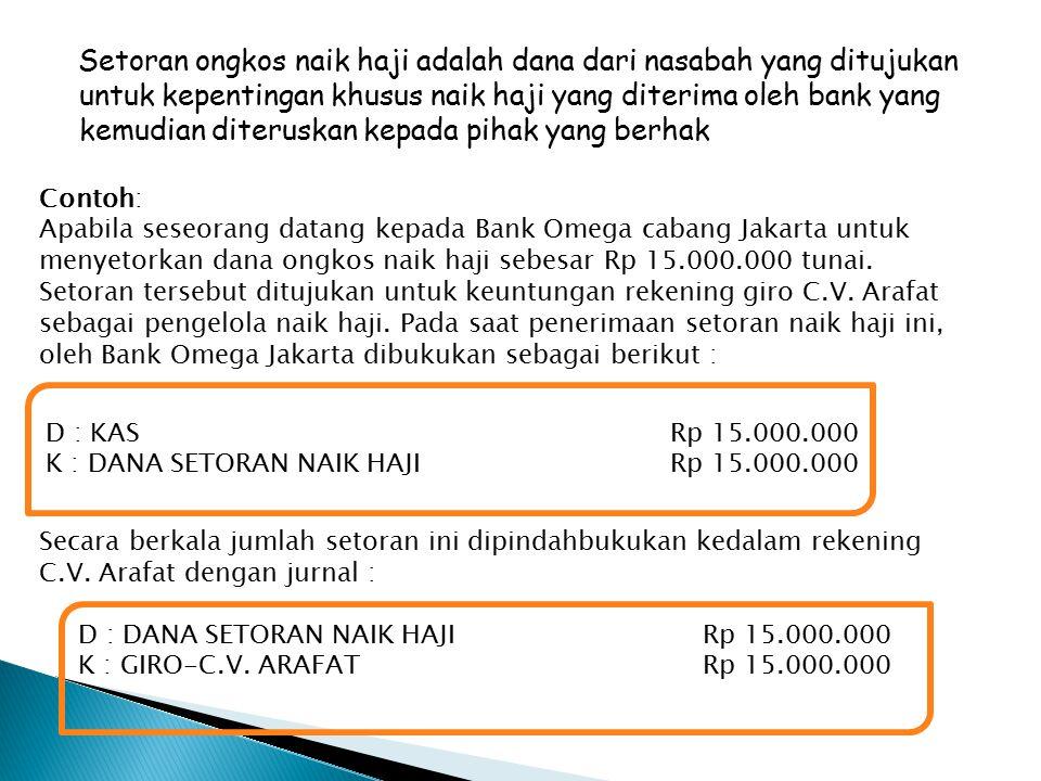 Setoran ongkos naik haji adalah dana dari nasabah yang ditujukan untuk kepentingan khusus naik haji yang diterima oleh bank yang kemudian diteruskan kepada pihak yang berhak Contoh: Apabila seseorang datang kepada Bank Omega cabang Jakarta untuk menyetorkan dana ongkos naik haji sebesar Rp 15.000.000 tunai.