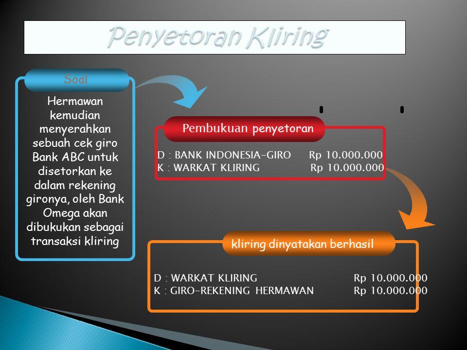 Pembukuan penyetoran kliring dinyatakan berhasil Soal Hermawan kemudian menyerahkan sebuah cek giro Bank ABC untuk disetorkan ke dalam rekening gironya, oleh Bank Omega akan dibukukan sebagai transaksi kliring D : BANK INDONESIA-GIRO Rp 10.000.000 K : WARKAT KLIRING Rp 10.000.000 D : WARKAT KLIRING Rp 10.000.000 K : GIRO-REKENING HERMAWAN Rp 10.000.000