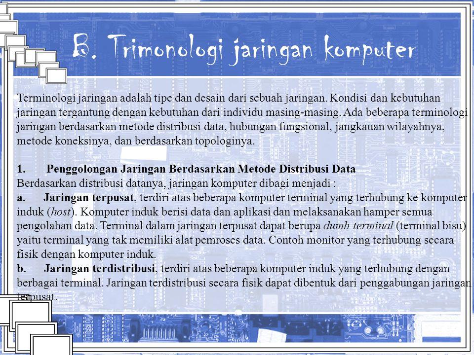 B. Trimonologi jaringan komputer Terminologi jaringan adalah tipe dan desain dari sebuah jaringan. Kondisi dan kebutuhan jaringan tergantung dengan ke