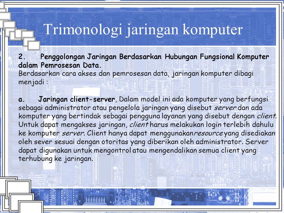 Trimonologi jaringan komputer 2. Penggolongan Jaringan Berdasarkan Hubungan Fungsional Komputer dalam Pemrosesan Data. Berdasarkan cara akses dan pemr