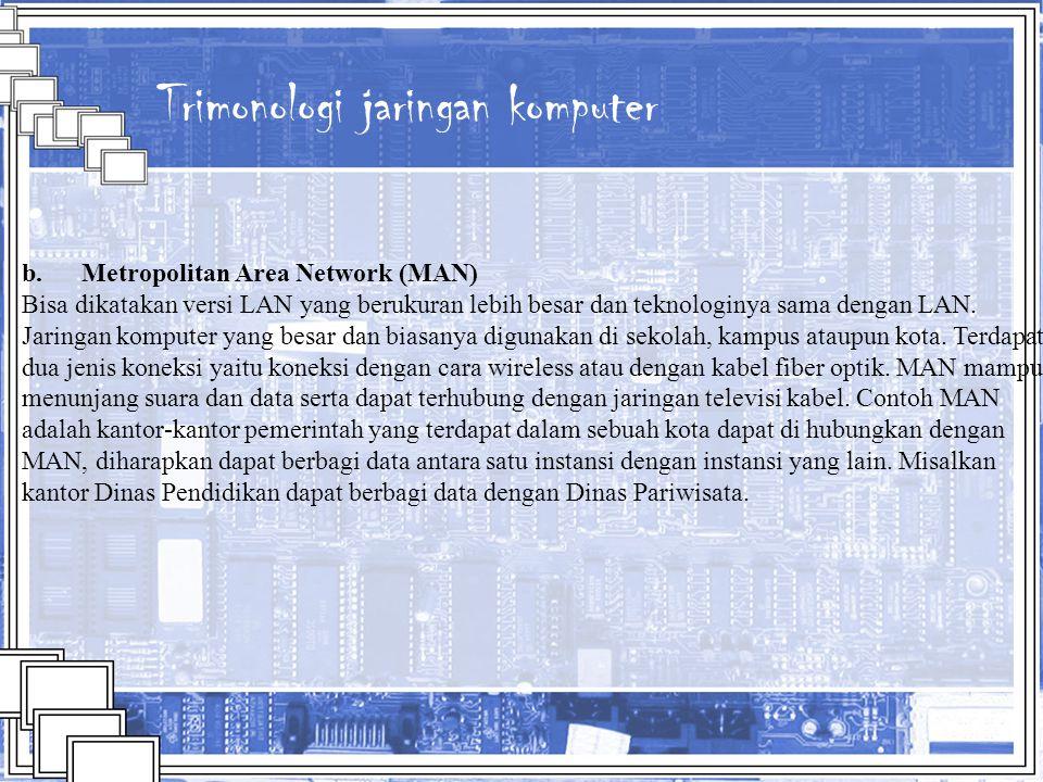 Trimonologi jaringan komputer b. Metropolitan Area Network (MAN) Bisa dikatakan versi LAN yang berukuran lebih besar dan teknologinya sama dengan LAN.