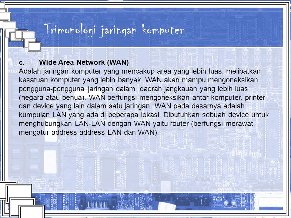 Trimonologi jaringan komputer c. Wide Area Network (WAN) Adalah jaringan komputer yang mencakup area yang lebih luas, melibatkan kesatuan komputer yan