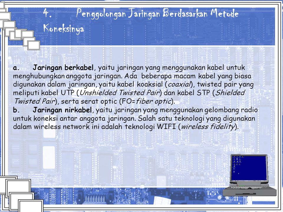 4. Penggolongan Jaringan Berdasarkan Metode Koneksinya a. Jaringan berkabel, yaitu jaringan yang menggunakan kabel untuk menghubungkan anggota jaringa