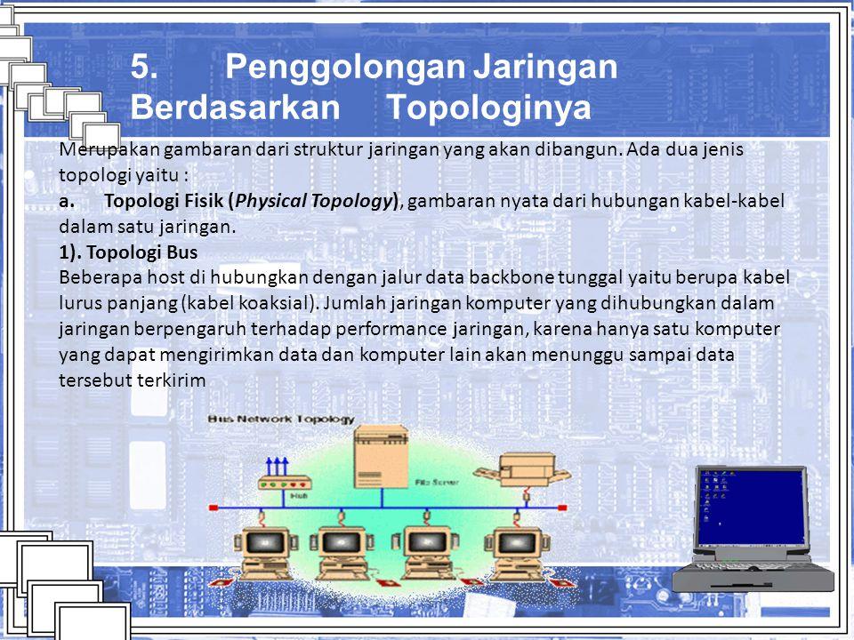 5. Penggolongan Jaringan Berdasarkan Topologinya Merupakan gambaran dari struktur jaringan yang akan dibangun. Ada dua jenis topologi yaitu : a. Topol