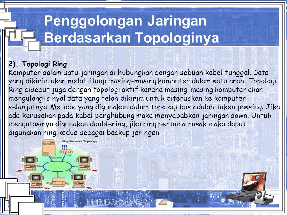 Penggolongan Jaringan Berdasarkan Topologinya 2). Topologi Ring Komputer dalam satu jaringan di hubungkan dengan sebuah kabel tunggal. Data yang dikir