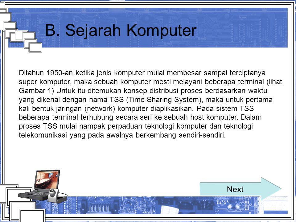 B. Sejarah Komputer Ditahun 1950-an ketika jenis komputer mulai membesar sampai terciptanya super komputer, maka sebuah komputer mesti melayani bebera