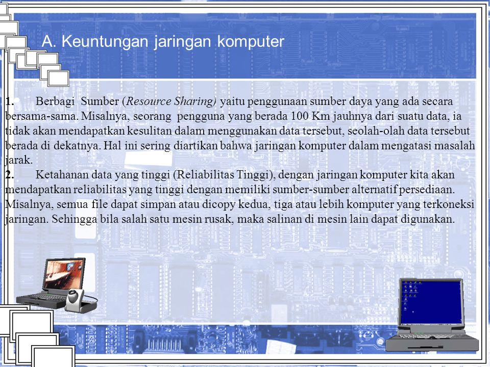 elements www.animationfactory.com A. Keuntungan jaringan komputer 1. Berbagi Sumber (Resource Sharing) yaitu penggunaan sumber daya yang ada secara be