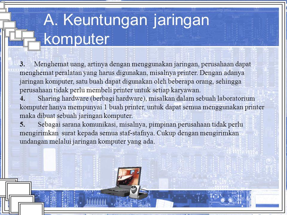 Kerugian jaringan komputer 1.Virus, dengan adanya virus ini akan membuat jaringan komputer rusak.