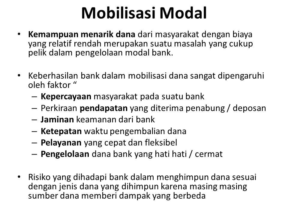 Mobilisasi Modal Kemampuan menarik dana dari masyarakat dengan biaya yang relatif rendah merupakan suatu masalah yang cukup pelik dalam pengelolaan mo