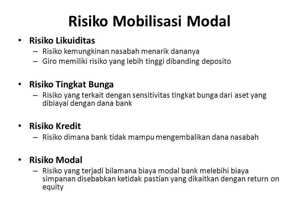 Risiko Mobilisasi Modal Risiko Likuiditas – Risiko kemungkinan nasabah menarik dananya – Giro memiliki risiko yang lebih tinggi dibanding deposito Ris