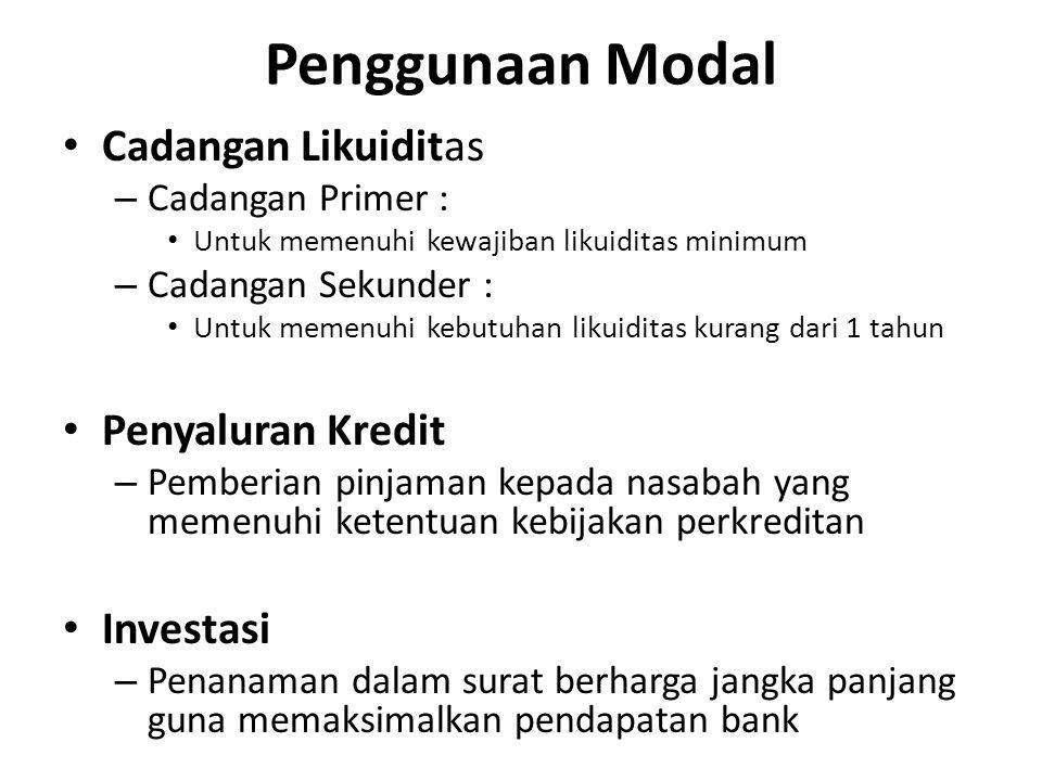 Penggunaan Modal Cadangan Likuiditas – Cadangan Primer : Untuk memenuhi kewajiban likuiditas minimum – Cadangan Sekunder : Untuk memenuhi kebutuhan li