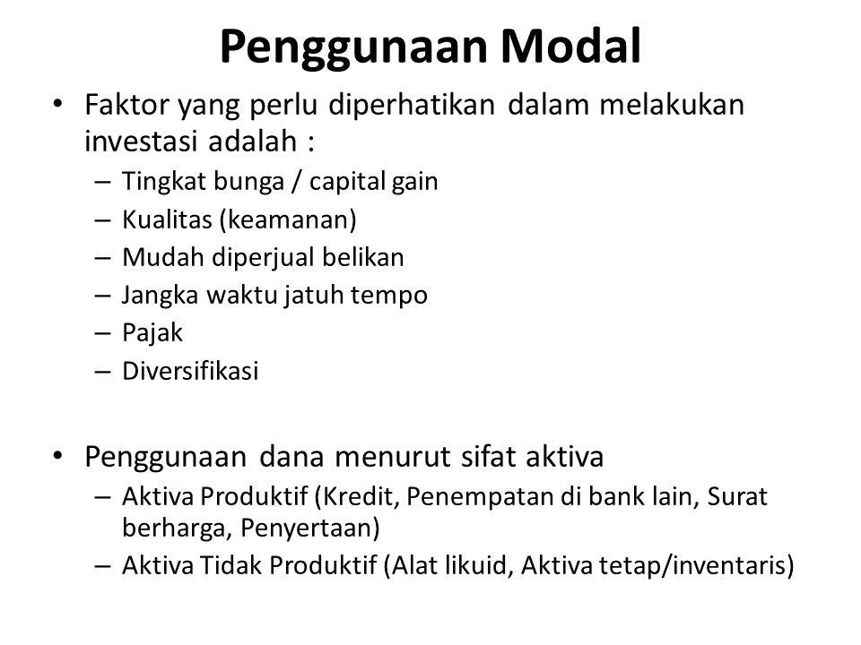 Faktor yang perlu diperhatikan dalam melakukan investasi adalah : – Tingkat bunga / capital gain – Kualitas (keamanan) – Mudah diperjual belikan – Jan