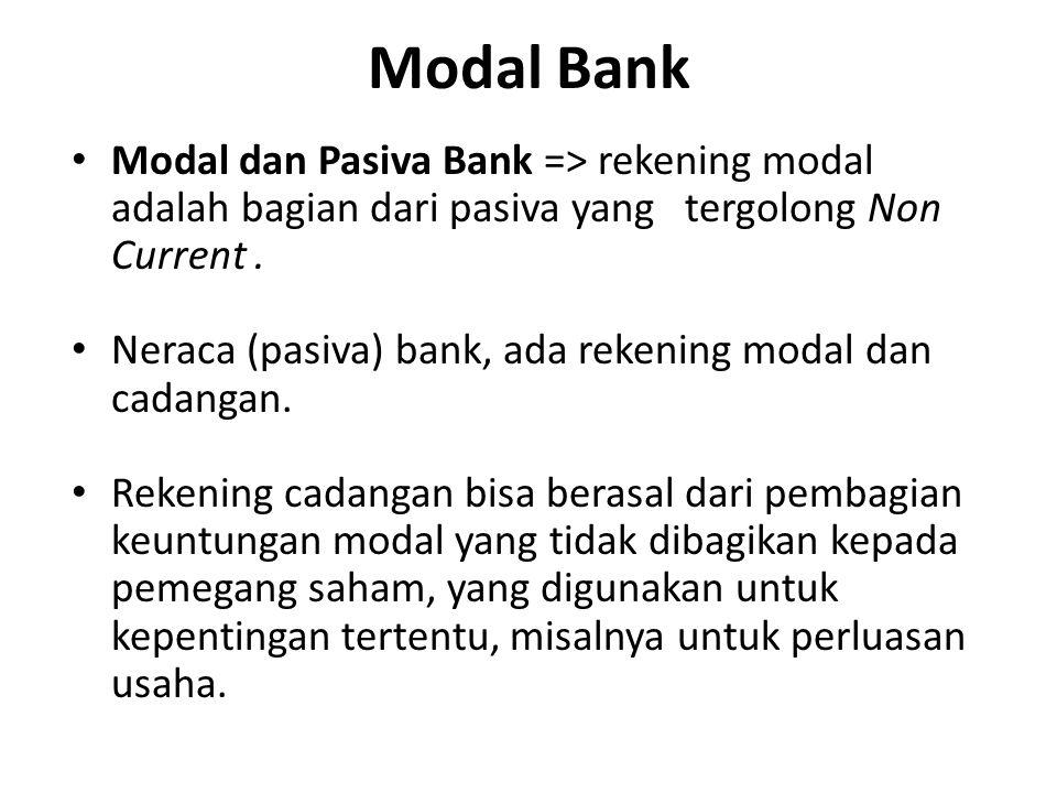 Modal Bank Modal dan Pasiva Bank => rekening modal adalah bagian dari pasiva yang tergolong Non Current. Neraca (pasiva) bank, ada rekening modal dan