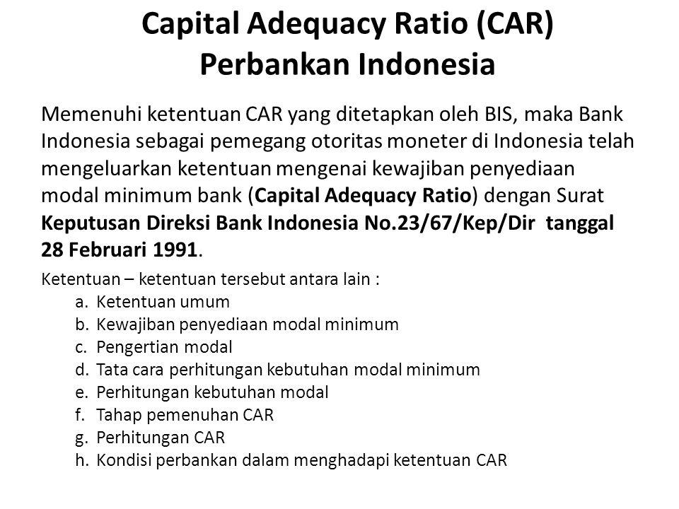 Capital Adequacy Ratio (CAR) Perbankan Indonesia Memenuhi ketentuan CAR yang ditetapkan oleh BIS, maka Bank Indonesia sebagai pemegang otoritas monete