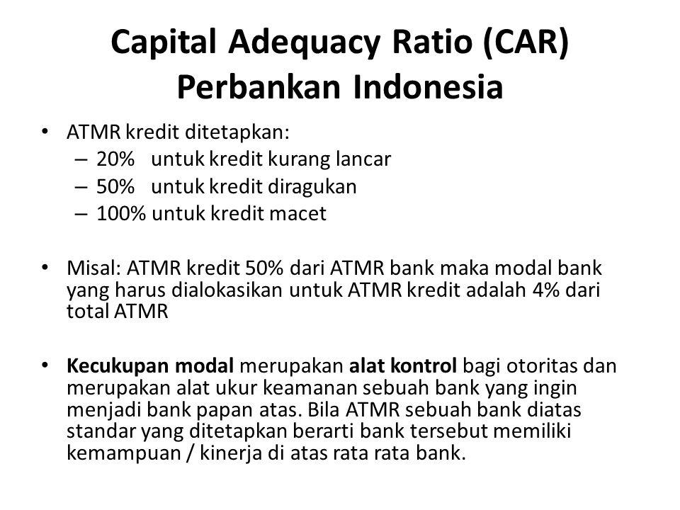 ATMR kredit ditetapkan: – 20% untuk kredit kurang lancar – 50% untuk kredit diragukan – 100% untuk kredit macet Misal: ATMR kredit 50% dari ATMR bank